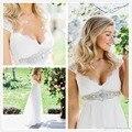 2017 baratos anna campbell cap mangas chiffon sheer lace vestidos de casamento de maternidade branco verão grávida vestidos de noiva