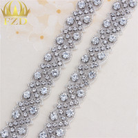 1 Yard Gun Color Rhinestone Chain Yard Crystal Motif Applique Crystal For Wedding Dress Accessories Iron