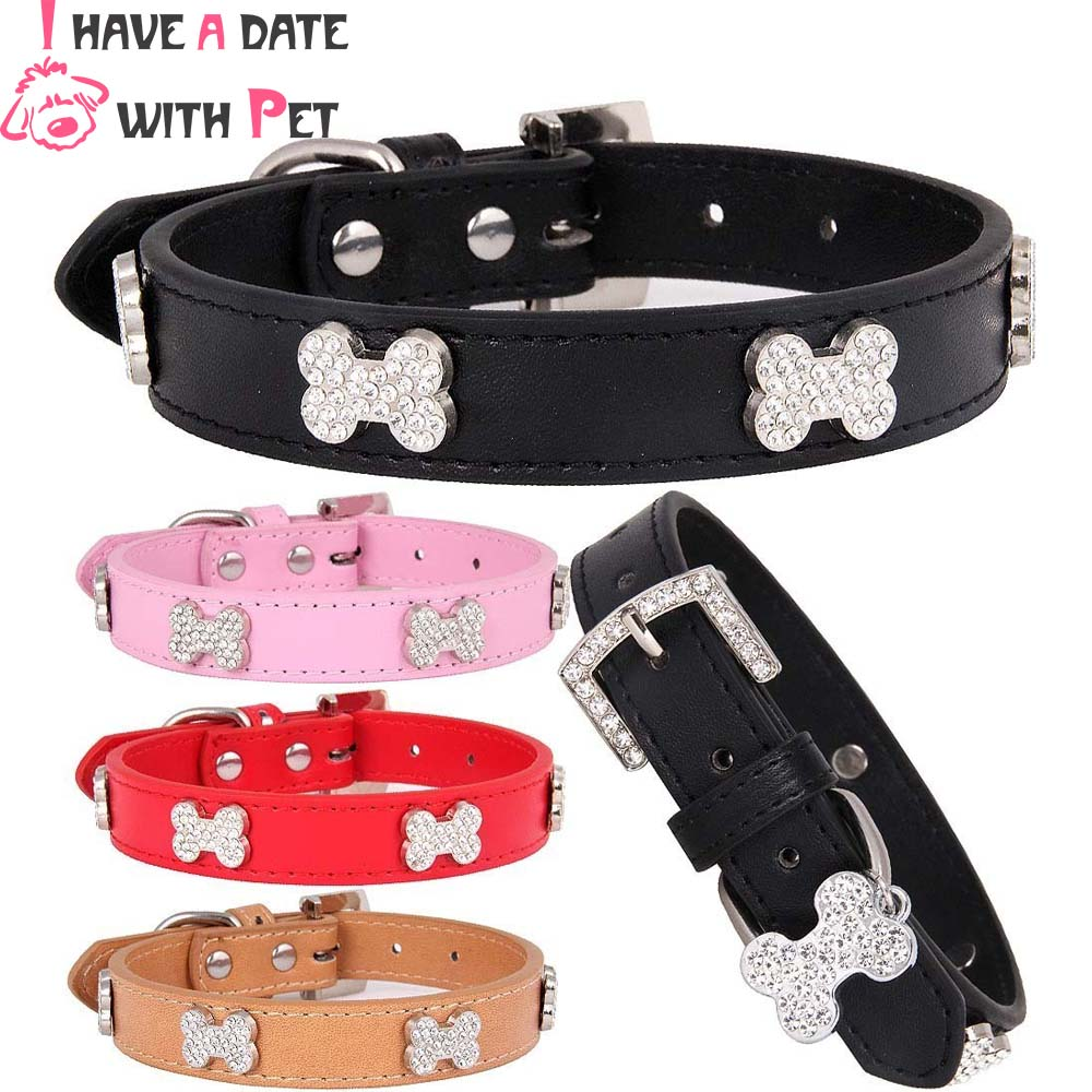 Pet Dog Collar  Perro for small Large S M L Pink Pu Leather Material Bling Diamond Bone Luxury Puppy Big