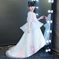 Çocuk Kız Lüks Prenses 3D Çiçekler Tasarım Modeli Gösterisi Elbise Çocuklar Bebekler Zarif Doğum Günü Düğün Uzun Firar Elbise