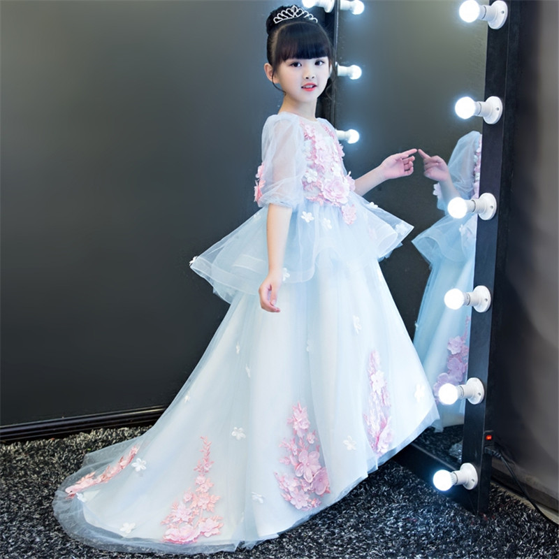 Children Girls Luxury Princess 3D Flowers Design Model Show Dress Kids Babies Elegant Birthday Wedding Party Long Trailing Dress флешка usb 16gb verbatim mini elements edition 49406 usb2 0 черный рисунок