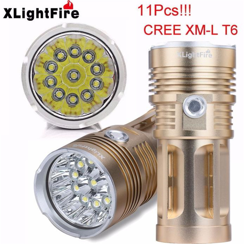 13000LM-28000LM 11 x XM-L T6 LED Hunting Flashlight 4 x 18650 Lamp Torch Cycling Bicycle Bike Front Head Light Golden M25 cree xm l t6 bicycle light 6000lumens bike light 7modes torch zoomable led flashlight 18650 battery charger bicycle clip