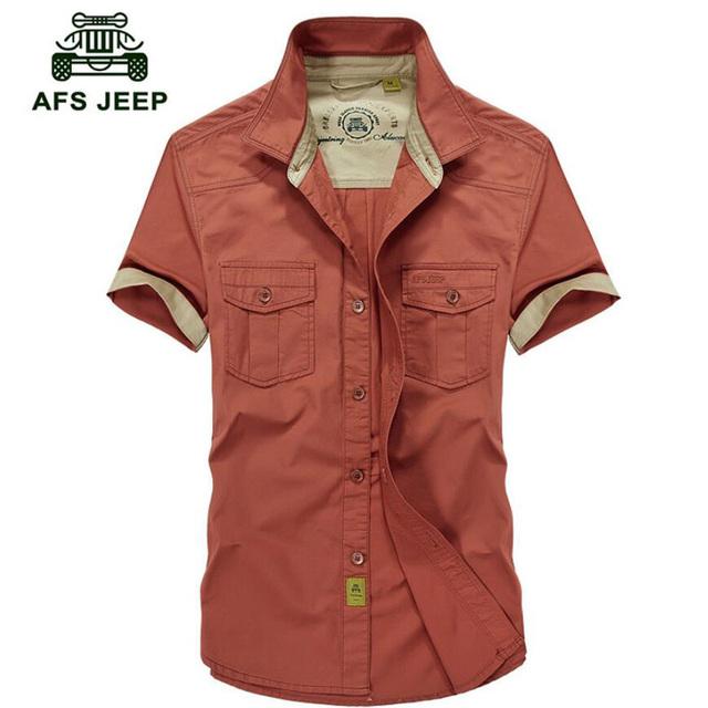AFS JEEP Hombres Camisas 2016 Hombres de la Camisa de Algodón Ocasional Da Vuelta-abajo camisa masculina de Manga Corta Solo Pecho S-5XL camisas