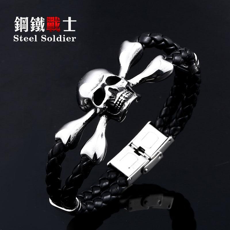 De aço soldado estrondo dominador cabeça do crânio do punk de aço inoxidável pulseira de couro genuíno jóias 2019 presente para homens