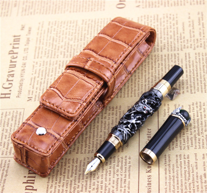 JINHAO free shipping fountain pen dragon pens High quality metal pen school office study materials business gift  002 fountain pen m nib hero 1508 dragon clip signature pens the best gifts free shipping