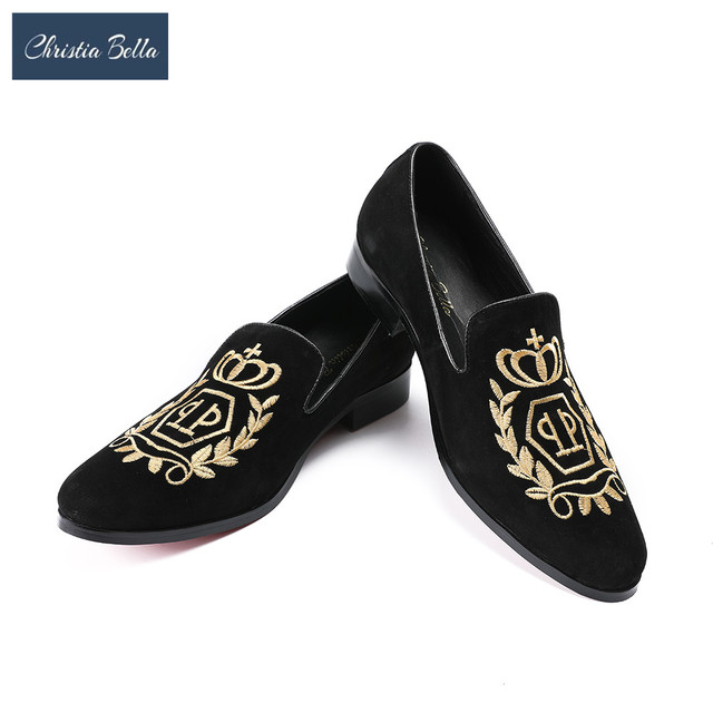 d7b05a753a1e6 Christia Bella India Handmade Luxurious Embroidery Men Velvet Shoes Men  Dress Shoes Banquet and Prom Male Plus Size Loafers