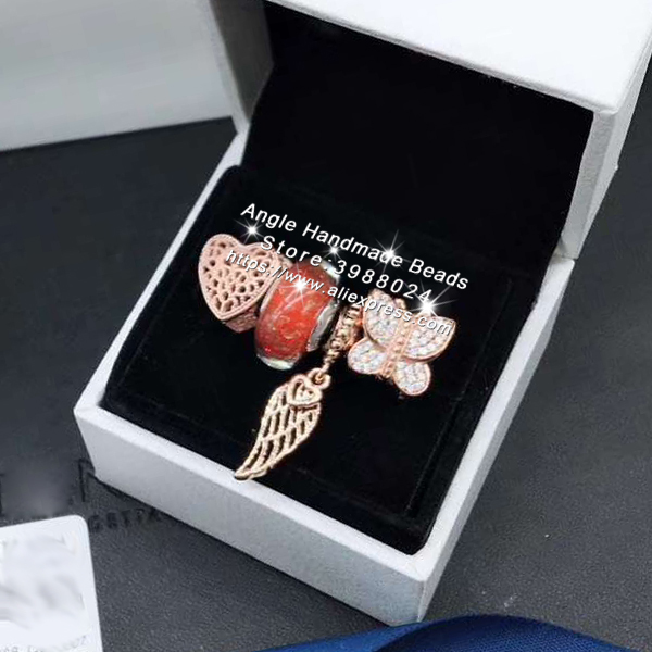 4pcs Rose Gold Jewelry Set Butterfly CZ Wings Dangle Charms Beads Fit DIY Bracelet Necklaces Jewelry Making Woman Gift4pcs Rose Gold Jewelry Set Butterfly CZ Wings Dangle Charms Beads Fit DIY Bracelet Necklaces Jewelry Making Woman Gift