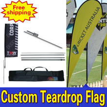 120cm*380cmFREE SHIPPING Custom Double Side Printing Display Flags Teardrop Banners Flags with Spike Inground Full Color Logo