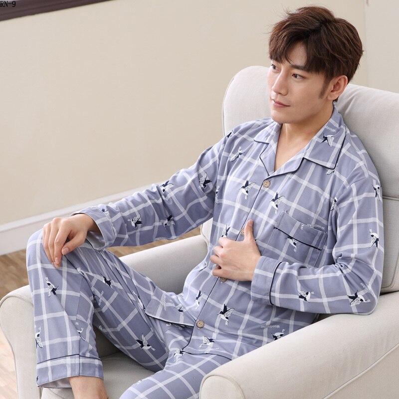 High Quality Cotton Long Sleeve Men Pajama Sets Cardigan Casual Sleepwear Suit Fashion Men's Pyjamas Autumn Winter Male Homewear