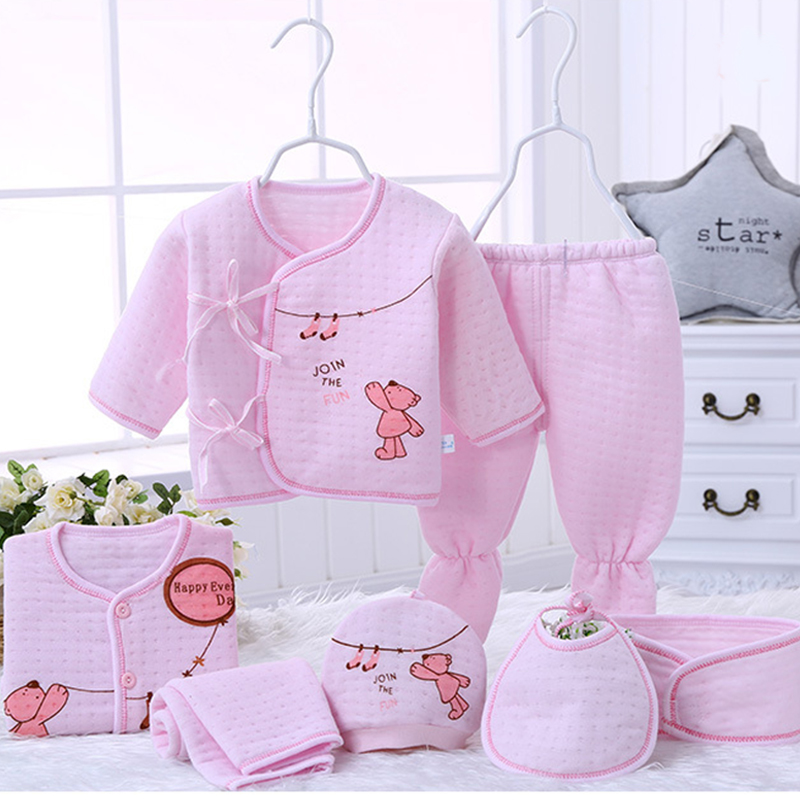 7pcs/set Newborn Baby Girl Clothes 100% Cotton Infant Clothing Set Winter Keep Warm Baby Boy Clothes Cotton Baby Born Clothes 3pcs set newborn infant baby boy girl clothes 2017 summer short sleeve leopard floral romper bodysuit headband shoes outfits