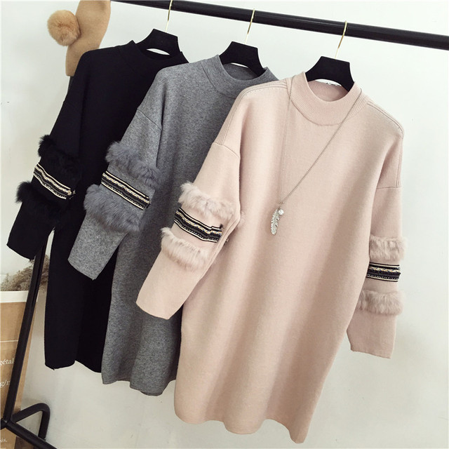 High Quality Women Knitted Cashmere Beaded Sweater Dress Rabbit Fur Long  Sleeve Turtleneck Elegant Woman Casual Dresses Jumpers 3d1de3ffb2d6