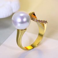 2014 Natural Shell Pearl Rings For Women Natural Pearl Rings Ladies Gold Plated Cream Pearl Ring