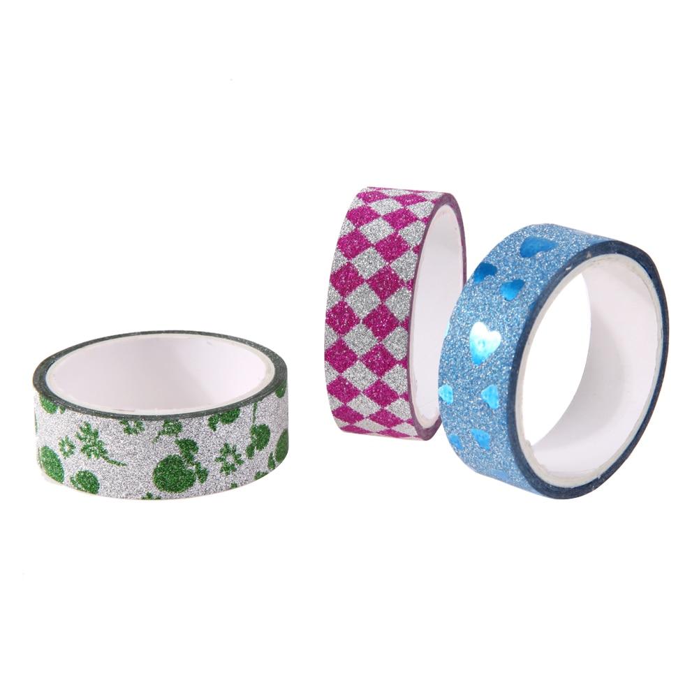 10pcs Rainbow Glitter Masking Tape Christmas Photo Album DIY Decorative Scrapbooking Adhesive Tapes