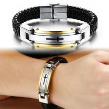 New Fashion Cross Leather Bracelet Mens Stainless Steel Religous Cuff Bracelets for Men Women