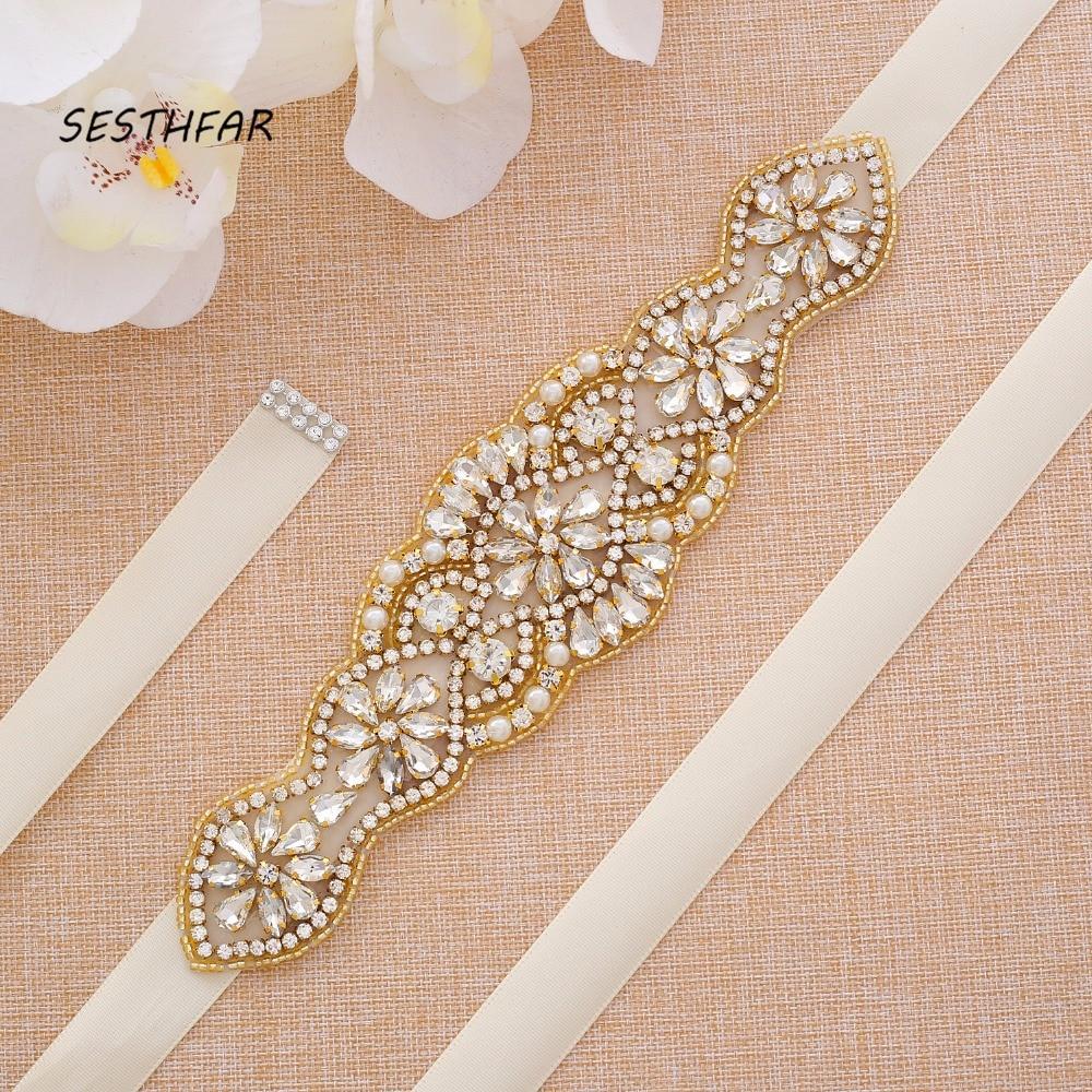 Pearls Wedding Belt Rhinestones Bridal Belt  Handmade Gold Crystal Flower Wedding Sash For Bridal Gown J119G