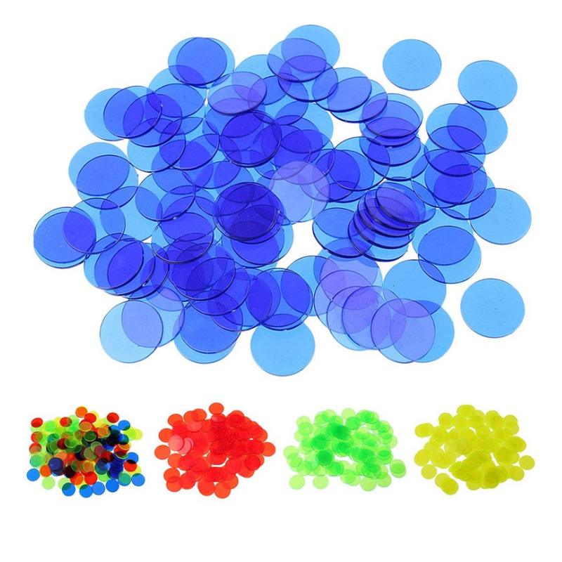 Confident 100pcs 19mm Count Bingo Chips Markers For Bingo Game Cards Plastic For Classroom Children And Carnival Bingo Games Pure White And Translucent
