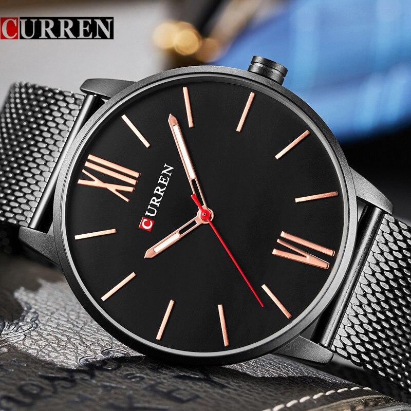 CURREN Watches Men Brand Luxury Mesh Strap Quartz Watch Men's Fashion Casual Sport Waterproof Wristwatch Relogio Masculino 8238