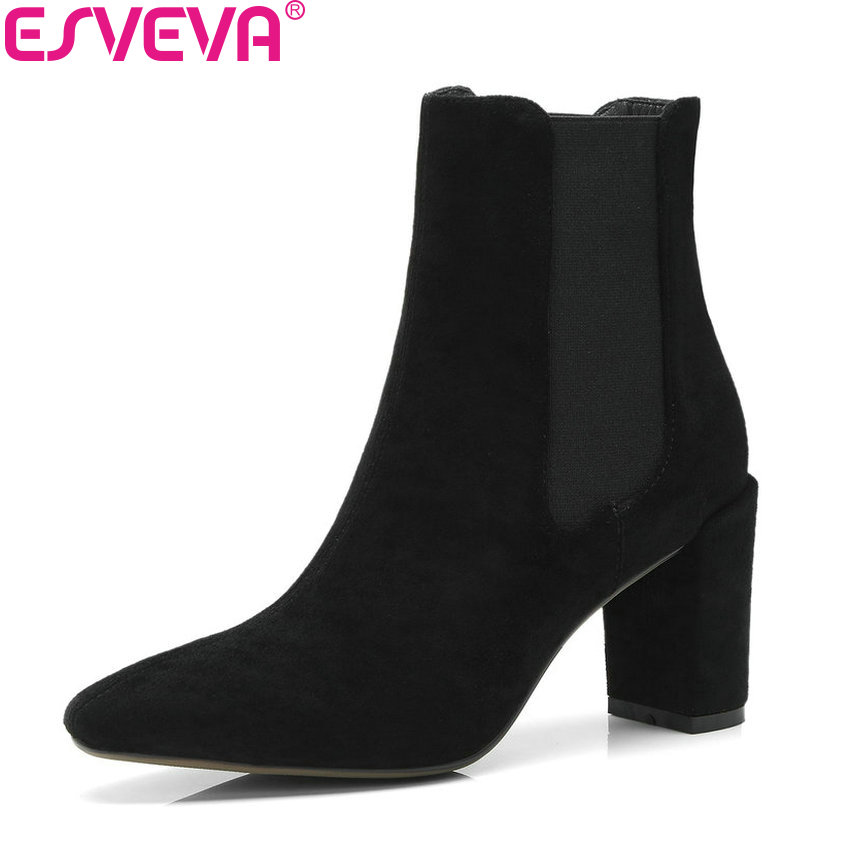 ESVEVA 2019 Women Boots Square High Heel Mid-calf Boots Elastic Band Autumn Shoes pointed Toe Fashion Boots for Woman Size 34-39 beauty vogue socks boots women shoes stacked heel pointed toe square heel shoes woman mid calf boots ladies shoes green khaki