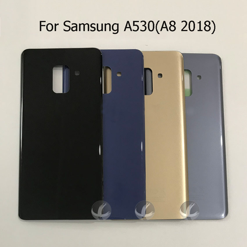 All New Back Housing For Samsung Galaxy A8 2018 A530 SM-A530F A530F A530DS Battery Glass Back Cover With LOGO And Adhesive