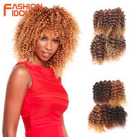 MODE IDOL Afro Verworrene Lockige Haar Bundles 6 teile/paket 14-18 zoll 200g Ombre Goldene Synthetische Haar Bundles eine Packung Können Volle Kopf