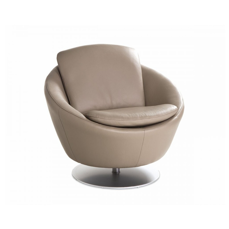 Modern Living Room Sofa Continental Custom Single Small Circular Rotating Sofa Chair Leather