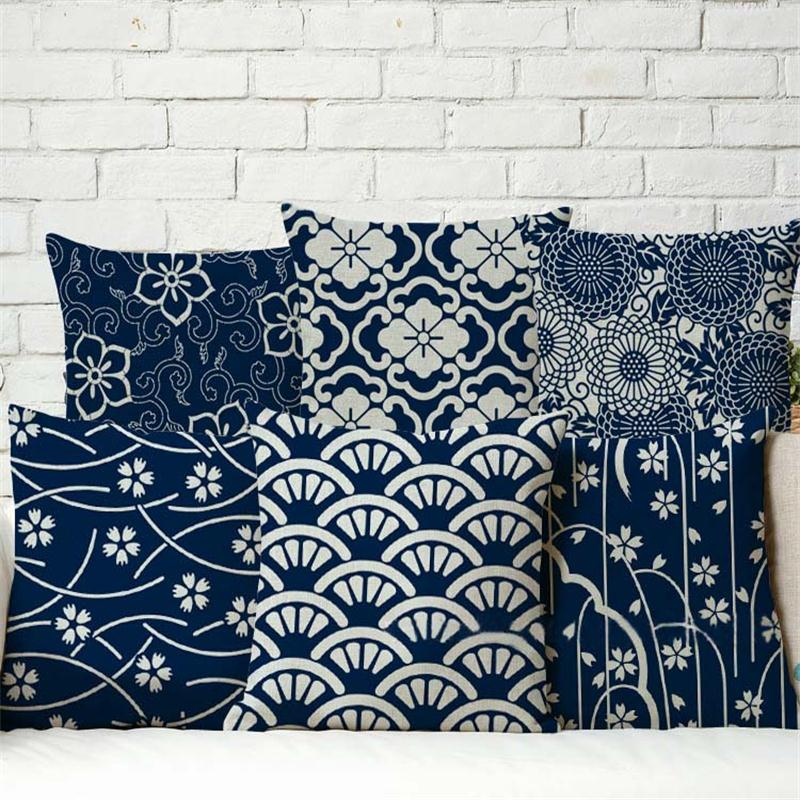 4343cm Blue And White Porcelain Cushions Linen Cushion Cover Chinese Style Pillow For Living Room Bed Free Shipping