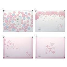 Japanese Cherry Girl Cartoon Print File Bag Plastic Zippered Folder Envelopes Clear Poly Pouch Envelopes File Document Holder cartoon elephant clear file bag