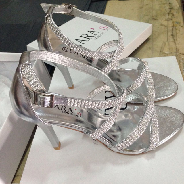e1d9e6d35857f LARA's satin white heels shoes silver metallic ankle strap cross diamante  strappy thin high heel sandals
