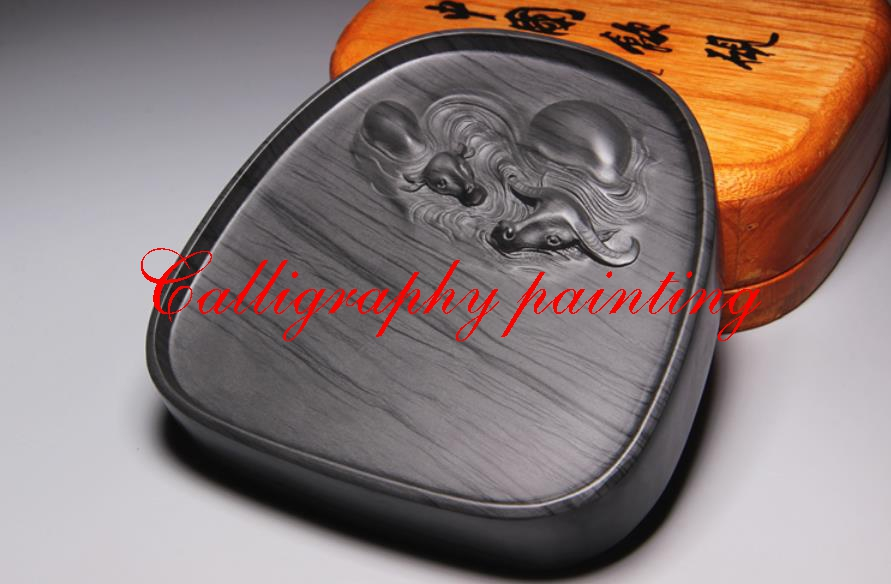 Ella la piedra de tinta tallado a mano vaca Inkstone caligrafía pintura herramienta