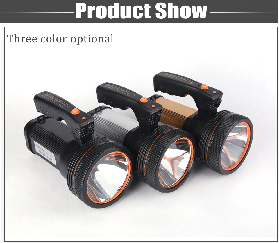 HTB1AJ 1ax rK1RkHFqDq6yJAFXaP - Super Bright LED Portable Light(Built-in 9000mA li-ion Battery)+USB Chaging cable+ Shoulder Strap Black/Silver/Gold Color Option