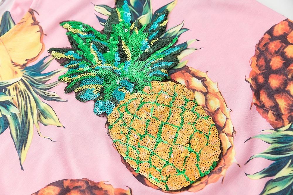 HTB1AJ GQVXXXXauXVXXq6xXFXXX5 - Top Hot Sequined Print Pineapple Women t shirt Short Sleeve