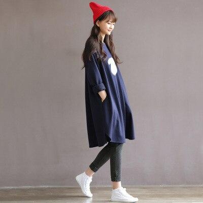 Корея материнства платье Осень загружен Беременных женщин платье С Длинным рукавом материнства платье