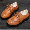 2016 nueva primavera otoño de los niños zapatos de los niños zapatos de las muchachas del cabrito de cuero genuino oxford zapatos de los muchachos de la marca pisos negro marrón 68