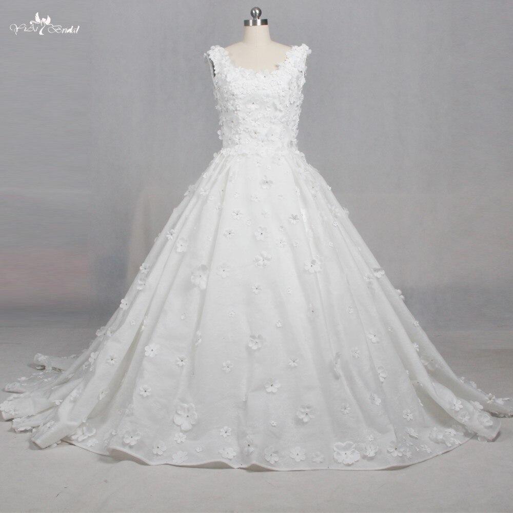 TW0167   Ball Gown 3D Flowers Beading Princess Wedding Dresses