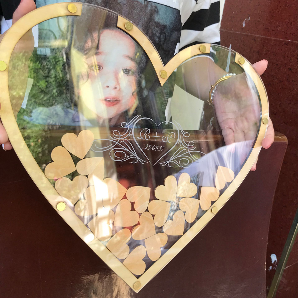 Personalized hearts Rustic wedding engraved Alternative Wooden guestbooks Hearts Double sided Acrylic guest books Custom name