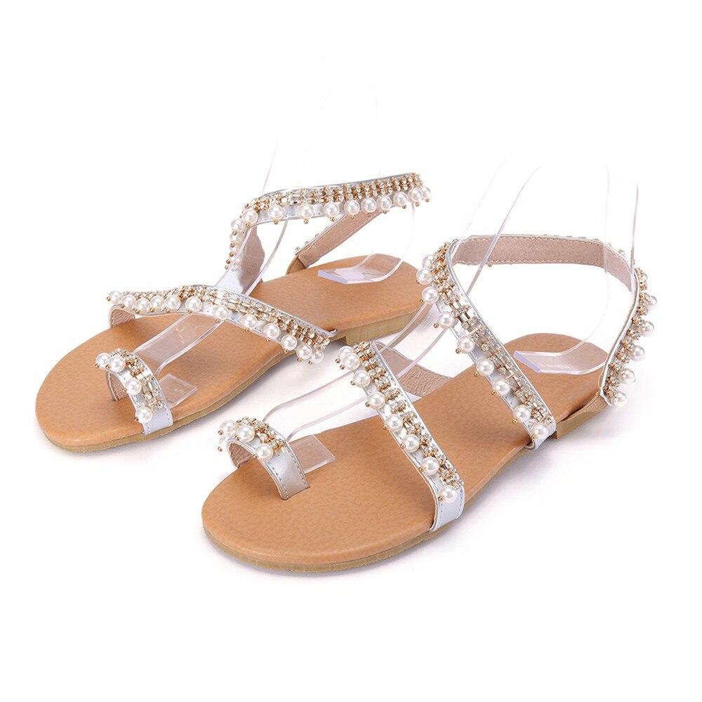 42 Zapatos Verano 43 Tamaño Plata 2018 Moda Nuevo Mujer Planos gy76vYbf