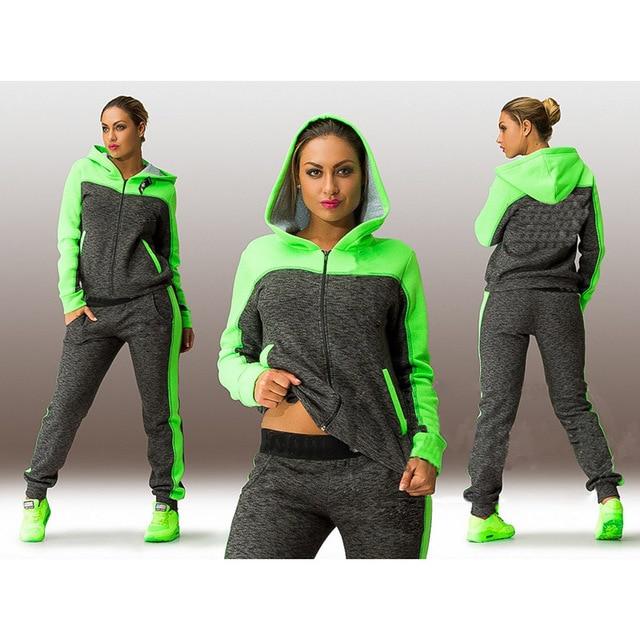 Large Size L-4XL 2 Piece Women's Sportswear Hoodie Green Hooded Sweatshirt + Pants Jogging Sports Suit Clothing Set