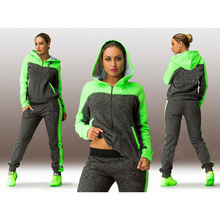 Large size L-4XL 2 piece women's sportswear hoodie green hooded sweatshirt + pants Jogging sports