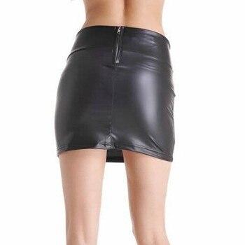 Women Sexy Bodycon Mini Skirt Party Clothing Faux Leather Zip High Wasit Female Short Pencil Skirts saias femininas S-3XL 4