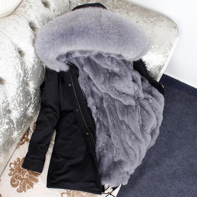 2018 Naturel De Fourrure Coton Veste D'hiver Femmes Femelle De Fourrure De Lapin Doublure Parc Moyen-Longue À Capuche Manteaux et Vestes Femmes