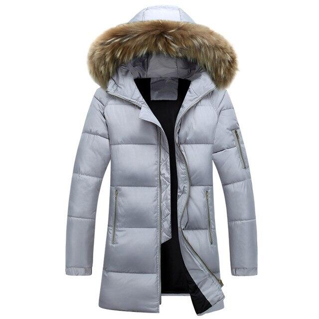 Q-IMAGE 2016 New Casual Fur Hooded Winter Jacket Men Quality Medium Long Men Winter Coat   Free shipping