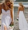 Спагетти Ремень Пляж Свадебное Платье Boho Дешевые Чешские Кружева Фронт Короткие Длинные Назад Свадебное Платье 2016 Платье Невесты под 100