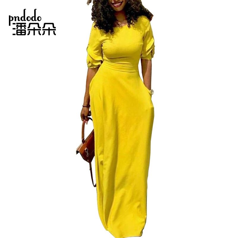 Pndodo Women Flare Sleeve Long Maxi Dress with Pocket Floor Length Casual  Dress Elegant Daily Festival Evening Loose Fit Dress-in Dresses from Women s  ... bd2a9a43eecb