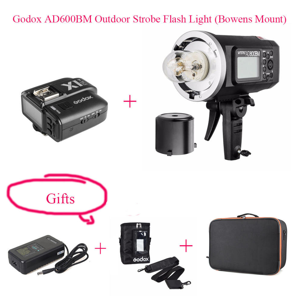 Godox AD600BM HSS 1 8000s 600W GN87 Outdoor Strobe Flash Light Bowens Mount Battery Charger Adapter