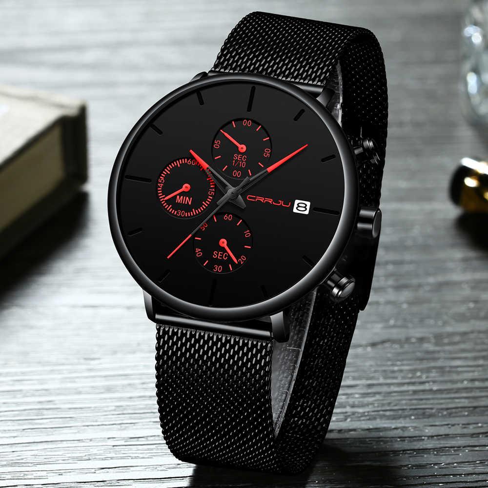 Hombres Mujeres cronómetros CRRJU diseño único deportivo de lujo reloj de pulsera correa de malla de acero inoxidable casuales de la moda de los hombres relojes con la fecha