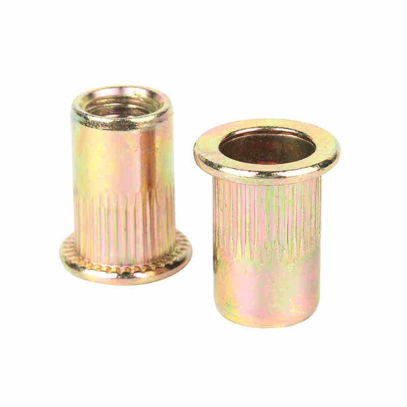 Rivet nuts M3 M4 M5 M6 M8 M10 M12 Zinc plated carbon steel Knurled Nuts rivnut flat head threaded rivet nut cap nuts insert