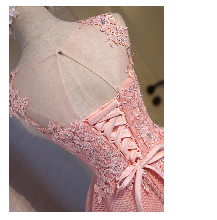 Short Evening Dress 2018 Sweet Pink O-neck Lace Ball Gown New Bride Party Formal Dress Custom Homecoming Dresses Robe De SoireeC 9