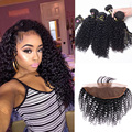 8A Malaysian Virgin Hair Kinky Curly Lace Frontal Closure With Bundles 3 Bundles Malaysian Curly Hair With Frontal With Bundles