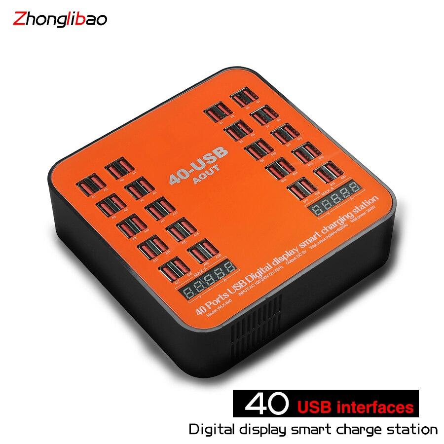 Chargeur de prise USB 5 V/40A 40 ports avec affichage LCD à courant de tension pour smartphone tablette PC AU/EU/US/UK
