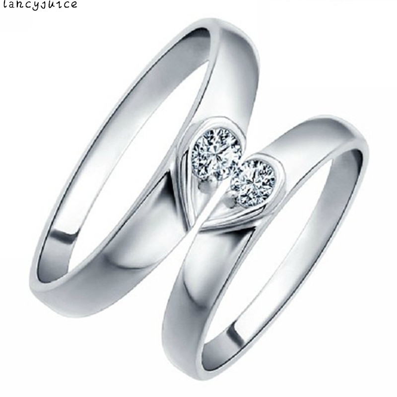 fashion jewelry true love half heart lover ring simple elegant couple ring wedding pair engagment rings - Elegant Wedding Rings